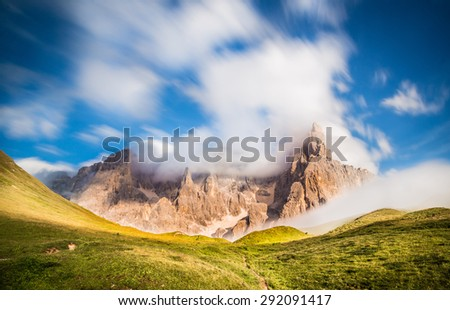 Pale di San Martino, Trentino Alto Adige, Italy. Pale di San Martino Group during a sunny and windy day. - stock photo