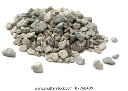 Pale of crushed stone isolated on white - stock photo