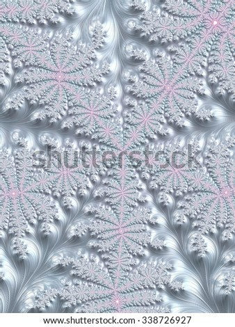 Pale pink and light winter blue Christmas decoration fractal background with centered snowflake - Fashion color trends collection: Fall Winter 2015 - 2016 - stock photo