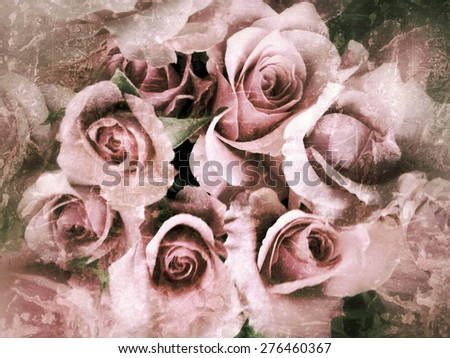 Pale pink roses with a layer of grunge textures - stock photo