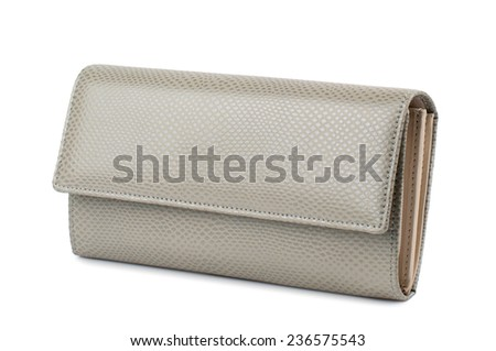 Pale sandy brown purse isolated on white background. - stock photo