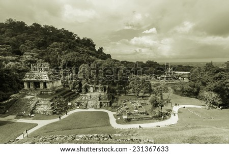 Palenque pyramid in Mexico - stock photo
