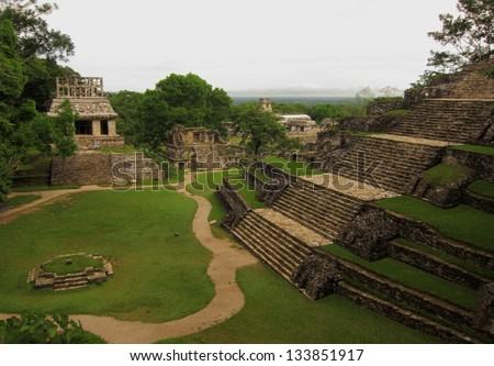 Palenque ruins, Mexico - stock photo