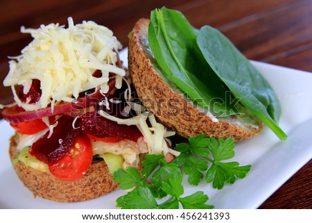 Paleo Bun with Cheese and Salad - stock photo