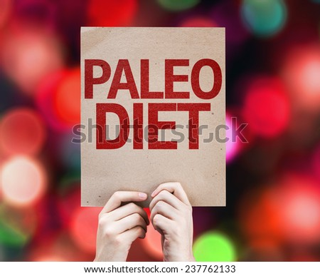 Paleo Diet card with colorful background with defocused lights - stock photo