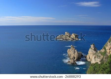 Paleokastritsa on corfu island Greece - stock photo