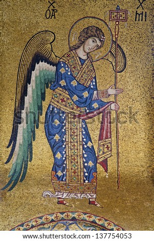 PALERMO - APRIL 8: Mosaic of Archangel Michael from Church of Santa Maria dell' Ammiraglio or La Martorana from 12. cent. on April 8, 2013 in Palermo, Italy. - stock photo