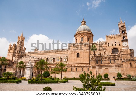 Palermo Cathedral is the cathedral church of the Roman Catholic Archdiocese of Palermo, located in Palermo, Sicily,  Italy. The church was erected in 1185 by Walter Ophamil. - stock photo