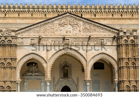 Palermo Cathedral (Metropolitan Cathedral of the Assumption of Virgin Mary) in Palermo, Sicily, Italy. Architectural complex. The famous portico by Domenico and Antonello Gagini. - stock photo