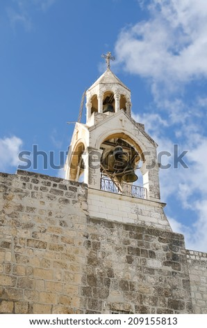 Palestine. City of Bethlehem. Church of the Nativity, the bell tower. - stock photo