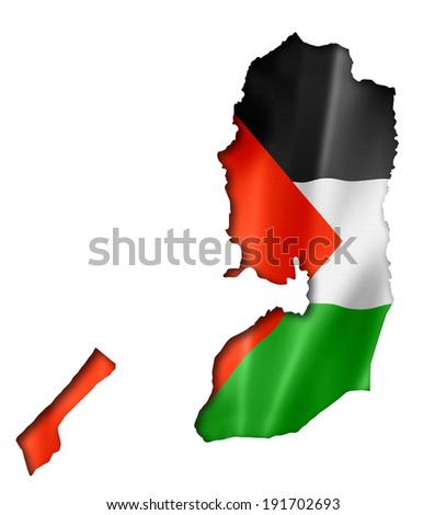 Palestine flag map, three dimensional render, isolated on white - stock photo
