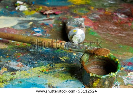 palette and oil - stock photo