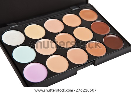Palette concealer and correctors. Make-up base. - stock photo