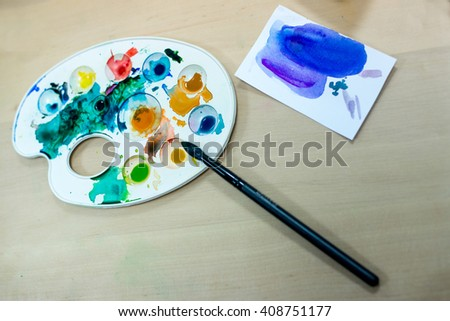 palette for painting on the table. palette for painting on the table - stock photo