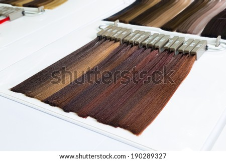 Palette samples of dyed hair various shades, Color shades catalog - stock photo
