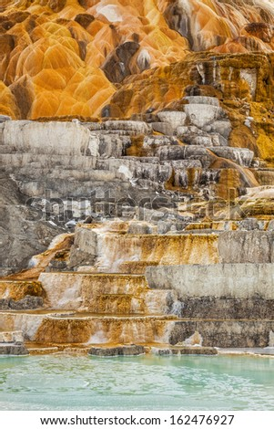 Palette Spring in Mammoth Hot Springs, Yellowstone National Park, Wyoming - stock photo