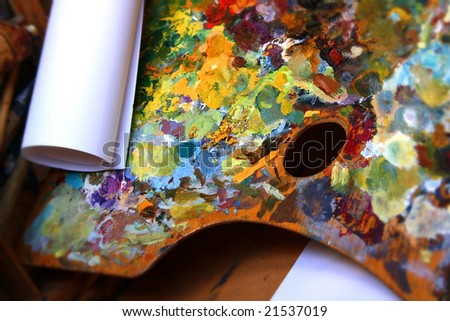 palette with paper roll - stock photo