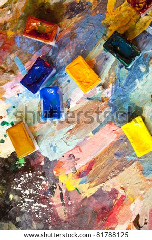 palette with watercolor paints - stock photo