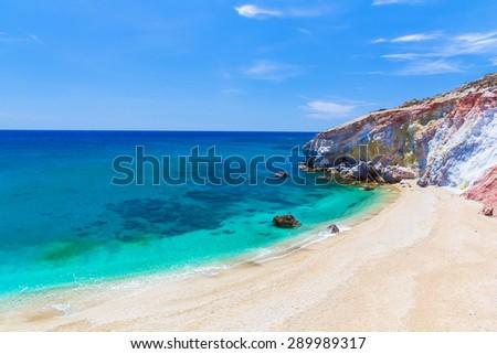 Paliochori beach, Milos island, Cyclades, Aegean, Greece - stock photo