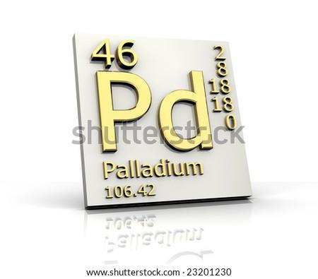 Palladium form Periodic Table of Elements - stock photo