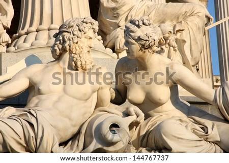 Pallas-Athena-Brunnen Fountain in front of the Austrian Parliament in Vienna, Austria - stock photo