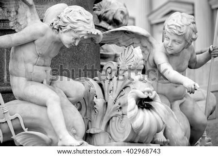 Pallas-Athena-Brunnen Fountain of the Austrian Parliament in Vienna, Austria - stock photo