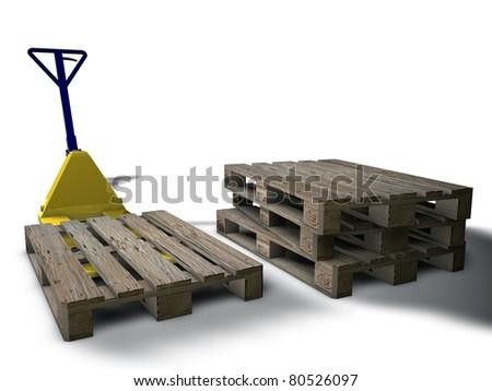 pallet truck - stock photo