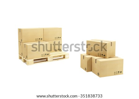 pallet with cardboard boxes - stock photo