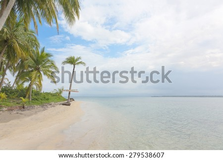 Palm and deserted beach, Panama - stock photo
