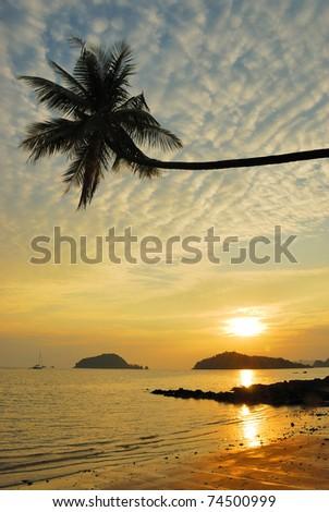 Palm Beach Sunset ,Trad, Thailand. - stock photo