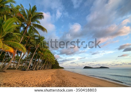 Palm Cove Beach with Double Island, Cairns, Queensland, Australia - stock photo