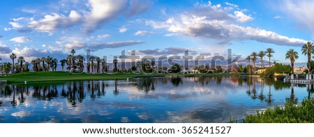 PALM DESERT, CA - NOV 19: View of water features at a golf course at the JW Marriott Desert Springs Resort & Spa on November 19, 2015 in Palm Desert, CA. The Marriott is popular golf destination. - stock photo