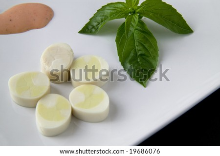 palm heart and basil - stock photo