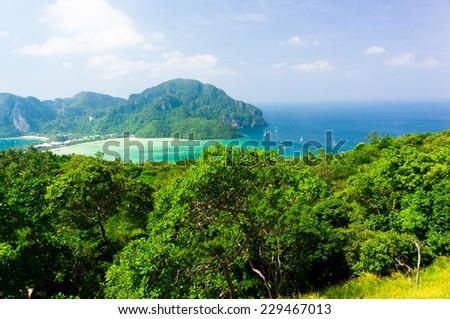 Palm Island Heaven Seascape  - stock photo