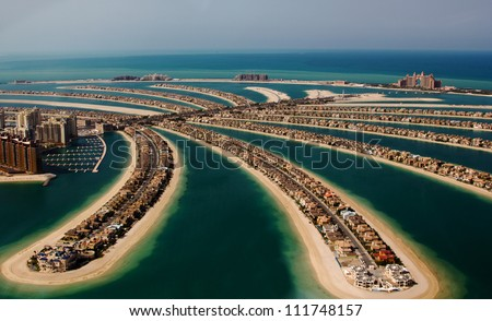Palm Jumeirah, Palm Island, Dubai, United Arab Emirates - stock photo