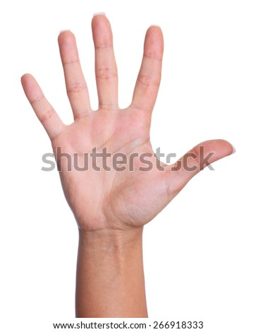 Palm of a woman hand on a white isolated background - stock photo