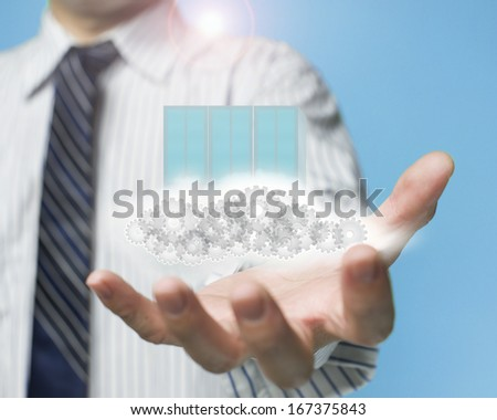 palm opening businessman with cloud, computing server in sky background - stock photo