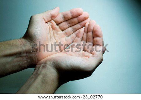 palm prosyaschie relief on a blue background - stock photo