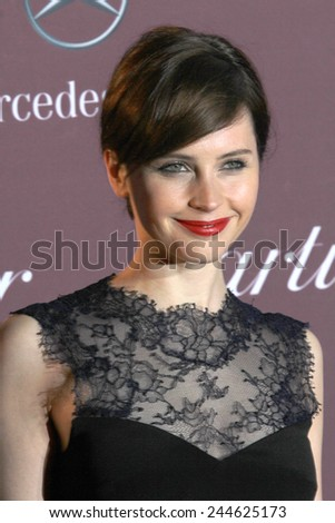 PALM SPRINGS, CA - JAN 3: Felicity Jones arrives at the 2015 Palm Springs Film Festival Awards Gala at the Palm Springs Convention Center on January 3, 2015 in Palm Springs, CA. - stock photo
