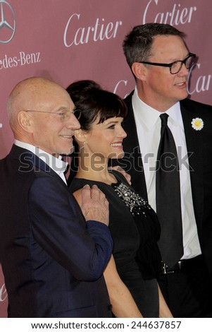 PALM SPRINGS, CA - JAN 3: Patrick Stewart, Carla Gugino & Matthew Lillard arrives at the 2015 Palm Springs International Film Festival Awards Gala on January 3, 2015 in Palm Springs, CA. - stock photo