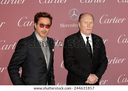 PALM SPRINGS, CA - JAN 3: Robert Downey Jr. and Robert Duvall arrive at the 2015 Palm Springs Film Festival Awards Gala at the Palm Springs Convention Center on January 3, 2015 in Palm Springs, CA. - stock photo