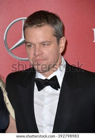 PALM SPRINGS, CA - JANUARY 2, 2016: Actor Matt Damon at the 2016 Palm Springs International Film Festival Awards Gala - stock photo