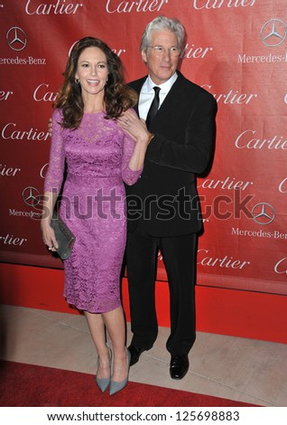 PALM SPRINGS, CA - JANUARY 5, 2013: Diane Lane & Richard Gere at the Awards Gala for the 2013 Palm Springs International Film Festival. - stock photo
