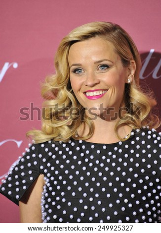 PALM SPRINGS, CA - JANUARY 6, 2015: Reese Witherspoon at the 2015 Palm Springs Film Festival Awards Gala at the Palm Springs Convention Centre.  - stock photo