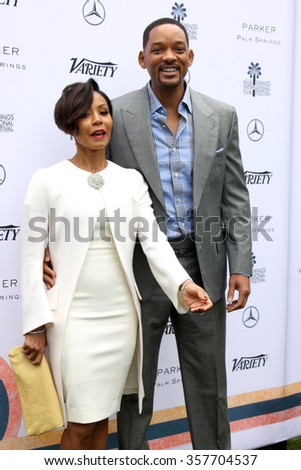 PALM SPRINGS - JAN 3:  Jada Pinkett Smith, Will Smith at the Variety Creative Impact Awards And 10 Directors To Watch Brunch at the The Parker Hotel on January 3, 2016 in Palm Springs, CA - stock photo