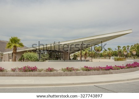 PALM SPRINGS, RIVERSIDE COUNTY, CALIFORNIA, USA - SEPTEMBER 20:  Historic mid century Tramway Gas Station designed by Albert Frey and Robson Chambers, now Palm Springs Visitor Center, California, USA. - stock photo