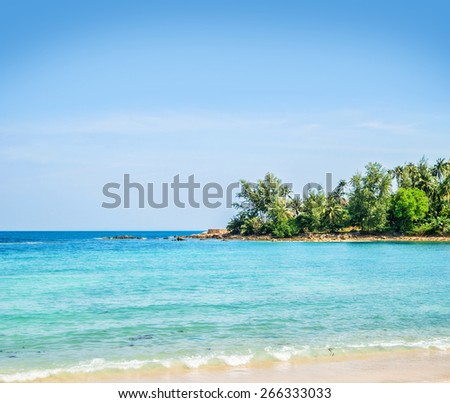 Palm tree forest, beach and mountains. Thailand. - stock photo
