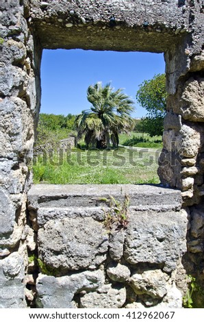 Palm tree through ancient stone wall window on sunny day - stock photo