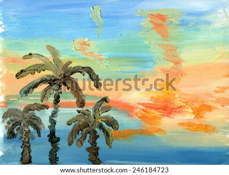 Palm trees against a bright sunset sky. Sketch of oil. - stock photo