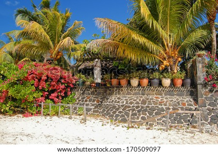 Palm trees and holiday villas on tropical beach, northern coast of Mauritius Island - stock photo